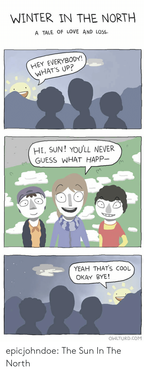 guess what: WINTER IN THE NORTH  A TALE OF LOVE AND LOSS  HEY EVERYBODY!  WHAT'S UP?  HL, SUN! YOULL NEVER  GUESS WHAT HAPP-  YEAH THATS COOL  OKAY BYE!  OWLTURD.COM epicjohndoe:  The Sun In The North