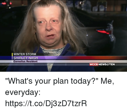 """winter storm: WINTER STORM  SHIRLEY NASH  Cornelius Resident  WCCB NEWS@TEN """"What's your plan today?""""  Me, everyday: https://t.co/Dj3zD7tzrR"""