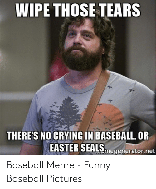 Baseball Meme: WIPE THOSE TEARS  THERE'S NO CRYING IN BASEBALL. OR  EASTER SEALS  ソnegenerator.net Baseball Meme - Funny Baseball Pictures
