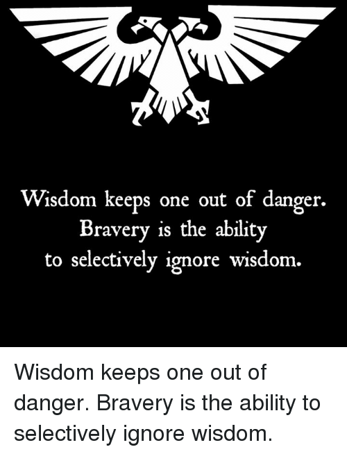 Ignorant, Memes, and Ability: Wisdom keeps one out of danger.  Bravery is the ability  to selectively ignore wisdom. Wisdom keeps one out of danger. Bravery is the ability to selectively ignore wisdom.