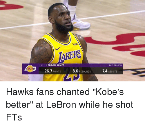 """Hawks: wish  23 LEBRON JAMES  THIS SEASON  AKER  26.7 POINTS  8.6 REBOUNDS  1.4 ASSISTS Hawks fans chanted """"Kobe's better"""" at LeBron while he shot FTs"""