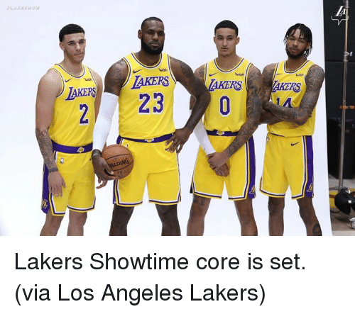 Los Angeles Lakers: wish  AKERLAKERS  2 23  RS  RS  AIDING Lakers Showtime core is set.  (via Los Angeles Lakers)