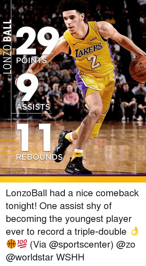 a triple double: wish  POINTS  TAKERS  ASSISTS  REBOUNDS LonzoBall had a nice comeback tonight! One assist shy of becoming the youngest player ever to record a triple-double 👌🏀💯 (Via @sportscenter) @zo @worldstar WSHH