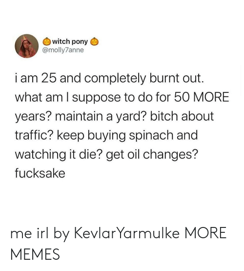i suppose: witch pony  @molly7anne  i am 25 and completely burnt out  what am I suppose to do for 50 MORE  years? maintain a yard? bitch about  traffic? keep buying spinach and  watching it die? get oil changes?  fucksake me irl by KevlarYarmulke MORE MEMES