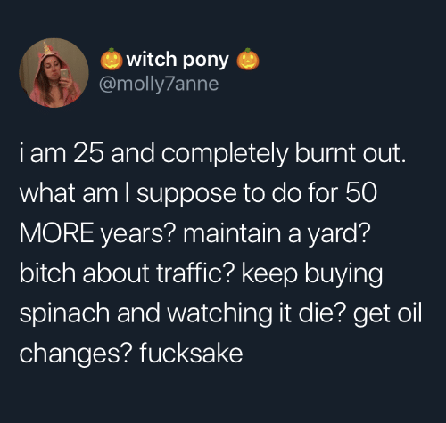 burnt out: witch pony  @molly7anne  iam 25 and completely burnt out.  what am I suppose to do for 50  MORE years? maintain a yard?  bitch about traffic? keep buying  spinach and watching it die? get oil  changes? fucksake