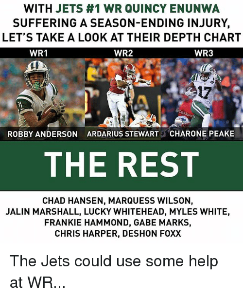 quincy: WITH JETS #1 WR QUINCY ENUNWA  SUFFERING A SEASON-ENDING INJURY,  LET'S TAKE A LOOK AT THEIR DEPTH CHART  WR2  WR1  WR3  17  ROBBY ANDERSON  ARDARIUS STEWART  CHARONE PEAKE  THE REST  CHAD HANSEN, MARQUESS WILSON,  JALIN MARSHALL, LUCKY WHITEHEAD, MYLES WHITE,  FRANKIE HAMMOND, GABE MARKS,  CHRIS HARPER, DESHON FOXX The Jets could use some help at WR...