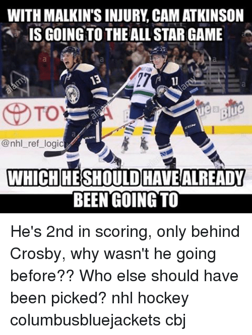 malkin: WITH MALKIN'S INJURY CAMATKINSON  IS GOING TO THE ALL STAR GAME  To  eb Blue  @nhl ref logic  AWHICH HESHOULD HAVE ALREADY  BEEN GOING TO He's 2nd in scoring, only behind Crosby, why wasn't he going before?? Who else should have been picked? nhl hockey columbusbluejackets cbj