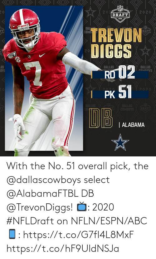 ABC: With the No. 51 overall pick, the @dallascowboys select @AlabamaFTBL DB @TrevonDiggs!   📺: 2020 #NFLDraft on NFLN/ESPN/ABC 📱: https://t.co/G7fI4L8MxF https://t.co/hF9UIdNSJa