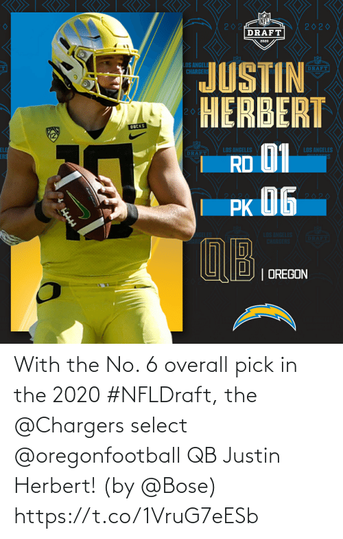 Justin: With the No. 6 overall pick in the 2020 #NFLDraft, the @Chargers select @oregonfootball QB Justin Herbert!   (by @Bose) https://t.co/1VruG7eESb