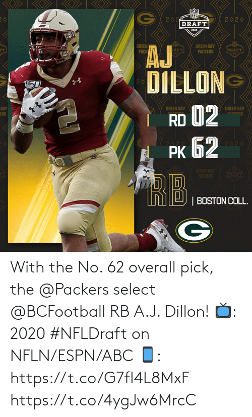 ESPN: With the No. 62 overall pick, the @Packers select @BCFootball RB A.J. Dillon!  📺: 2020 #NFLDraft on NFLN/ESPN/ABC 📱: https://t.co/G7fI4L8MxF https://t.co/4ygJw6MrcC