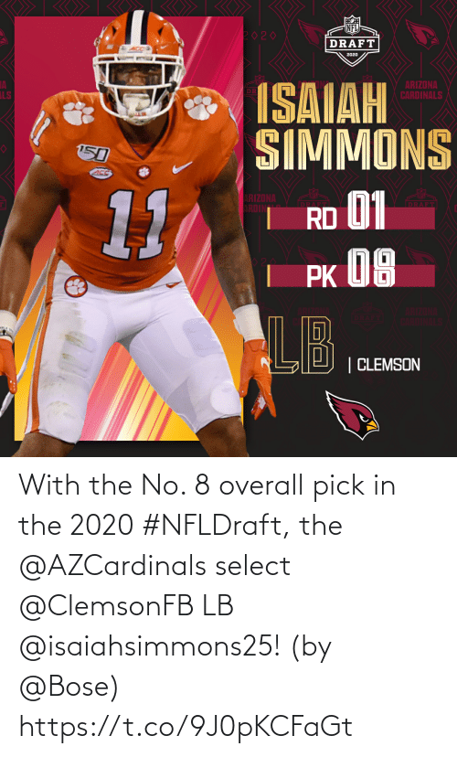 bose: With the No. 8 overall pick in the 2020 #NFLDraft, the @AZCardinals select @ClemsonFB LB @isaiahsimmons25!   (by @Bose) https://t.co/9J0pKCFaGt