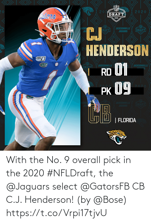 J: With the No. 9 overall pick in the 2020 #NFLDraft, the @Jaguars select @GatorsFB CB C.J. Henderson!  (by @Bose) https://t.co/Vrpi17tjvU