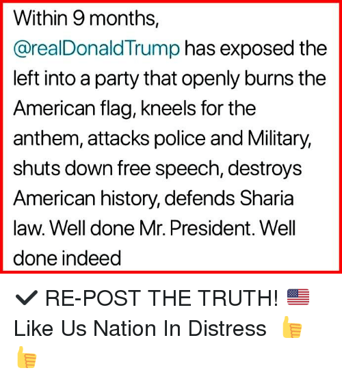 sharia: Within 9 months,  @realDonaldTrump has exposed the  left into a party that openly burns the  American flag, kneels for the  anthem, attacks police and Military,  shuts down free speech, destroys  American history, defends Sharia  law. Well done Mr. President. Well  done indeed ✔️ RE-POST THE TRUTH! 🇺🇸 Like Us ►Nation In Distress 👍👍