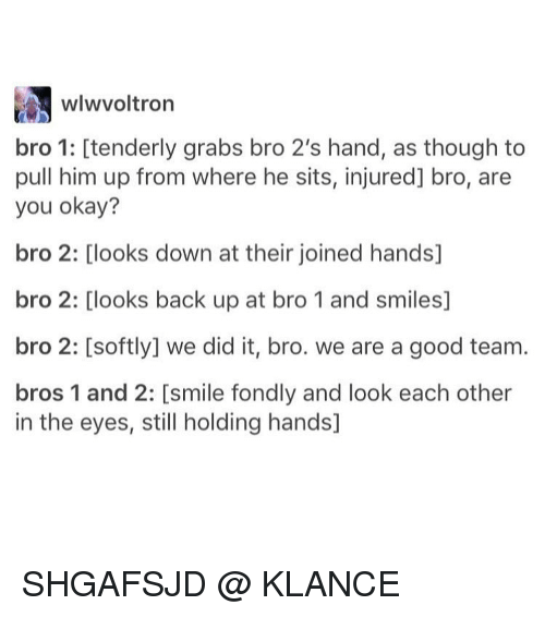 Memes, 🤖, and Him: wIwvoltron  bro 1: tenderly grabs bro 2's hand, as though to  pull him up from where he sits, injured] bro, are  you okay?  bro 2: Clooks down at their joined hands]  bro 2: Clooks back up at bro 1 and smiles]  bro 2: Csoftly] we did it, bro. we are a good team.  bros 1 and 2: [smile fondly and look each other  in the eyes, still holding hands] SHGAFSJD @ KLANCE