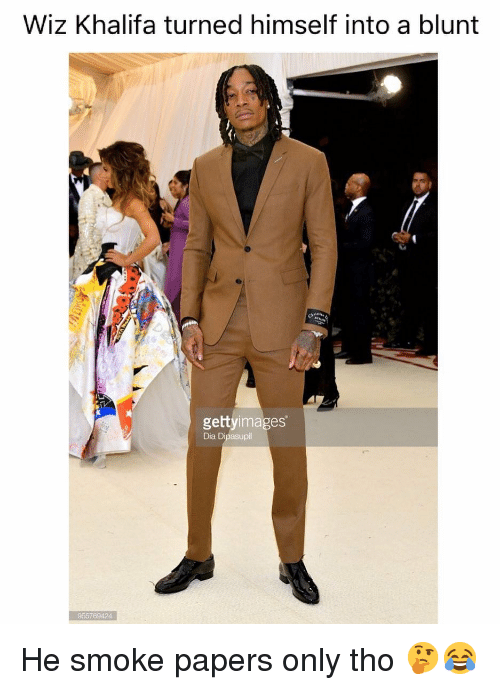 Weed, Wiz Khalifa, and Marijuana: Wiz Khalifa turned himself into a blunt  gettyimages  Dia Dipasupil  955769424 He smoke papers only tho 🤔😂