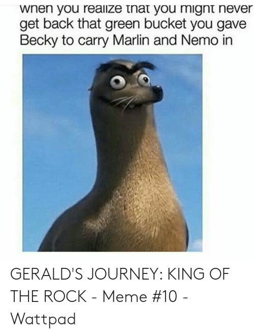 The Rock Meme: wnen you reailze tnat you mignt never  get back that green bucket you gave  Becky to carry Marlin and Nemo in GERALD'S JOURNEY: KING OF THE ROCK - Meme #10 - Wattpad
