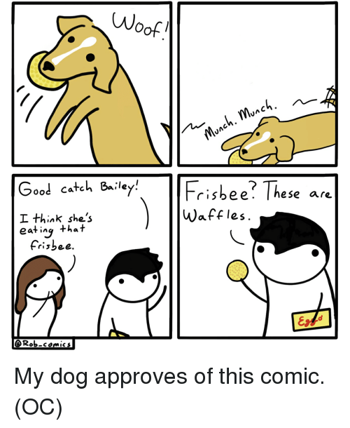 Good, Comics, and Dog: Wo  Good catch 8iley  I think she's  eat ing that  Frisbee? These are  Waffles  eS.  Frisbee  @Rob-comics My dog approves of this comic. (OC)