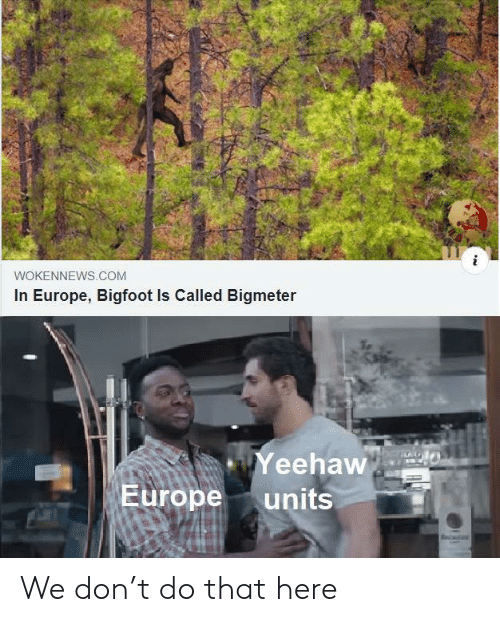 Bigfoot: WOKENNEWS.COM  In Europe, Bigfoot Is Called Bigmeter  Yeehaw  Europe  units We don't do that here