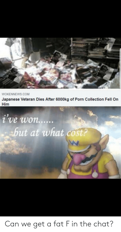 Dies: WOKENNEWS.COM  Japanese Veteran Dies After 6000kg of Porn Collection Fell On  Him  i've won......  ebut at what cost? Can we get a fat F in the chat?