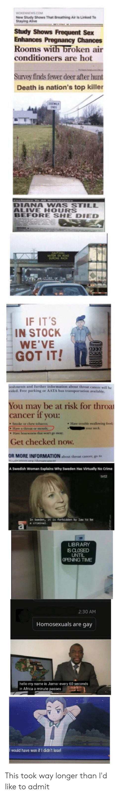 throat cancer: WOKENNEWS.COM  New Study Shows That Breathing Air is Linked To  Staying Alive  Study Shows Frequent Sex  Enhances Pregnancy Chances  Rooms with broken air  conditioners are hot  Survey finds fewer deer after hunt  Death is nation's top killer  xcesiv Te All Newee rs  DIANA WAS STILL  ALIVE HOURS  BEFORE SHE DIED  SAUTION  VATER ONROAD  DukIG RAN  IF IT'S  IN STOCK  WE'VE  GOT IT!  reshments and further information about throat cancer will be  wided. Free parking or AATA bus transportation available.  You may be at risk for throa  cancer if you:  Smoke or chew tobaccoc  Have trouble swallowing food  CHave a throat or mouth;  Have hoarsenes that won' go away  your neck  Get checked now.  OR MORE INFORMATION about throat cancer, go to  acer. throatcancer  A Swedish Woman Explains Why Sweden Has Virtually No Crime  Svt2  In Sweden, it is forbidden by law to be  a crininal.  LIBRARY  IS CLOSED  UNTIL  OPENING TIME  2:30 AM  Homosexuals are gay  hello my name is Jamar every 60 seconds  in Africa a minute passes  would have won if I didn't lose This took way longer than I'd like to admit