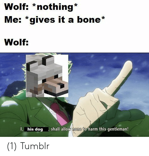 gentleman: Wolf: *nothing*  Me: *gives it a bone*  Wolf:  shall allow none to harm this gentleman!  I, his dog (1) Tumblr