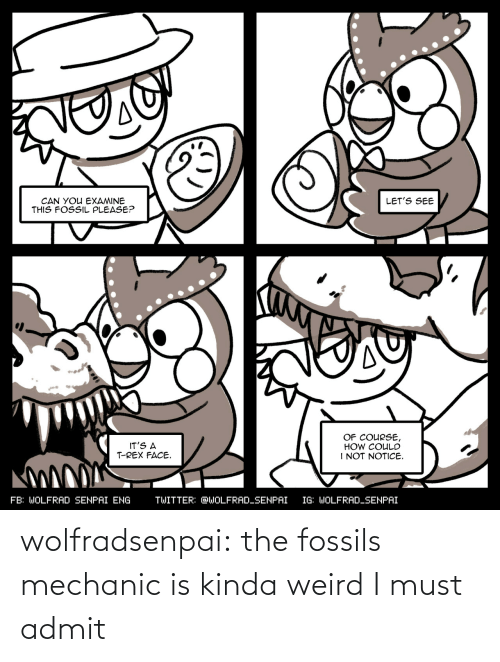 mechanic: wolfradsenpai:  the fossils mechanic is kinda weird I must admit