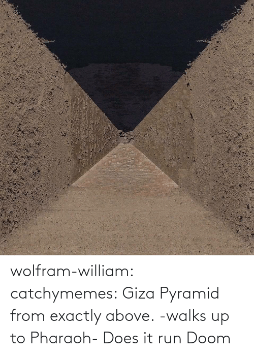 Does It: wolfram-william: catchymemes: Giza Pyramid from exactly above.    -walks up to Pharaoh- Does it run Doom