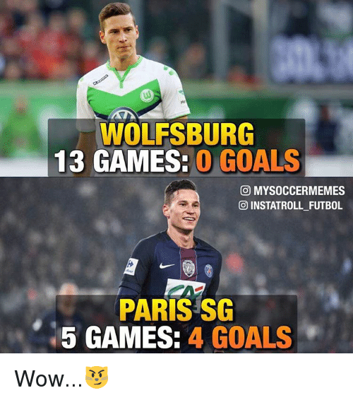 Memes, Wolfsburg, and 🤖: WOLFSBURG  13 GAMES.  O GOALS  CO MYSOCCERMEMES  INSTATROLL FUTBOL  PARIS SG  5 GAMES:  4 GOALS Wow...😼
