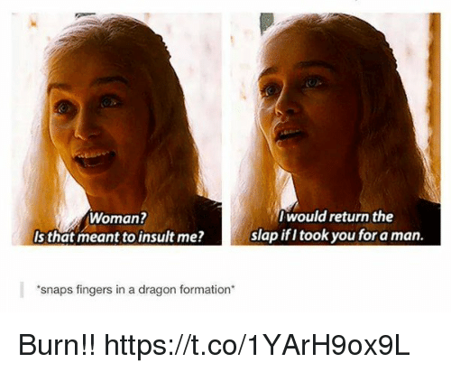 Formation, The Slap, and Dragon: Woman?  Is that meant to insult me?  Iwould return the  slap ifI took you for a man.  snaps fingers in a dragon formation Burn!! https://t.co/1YArH9ox9L