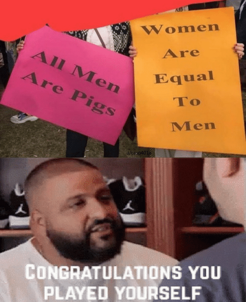 pigs: Women  Are  All Men  Are Pigs  Equal  To  Men  u/casp401a  CONGRATULATIONS YOU  PLAYED YOURSELF