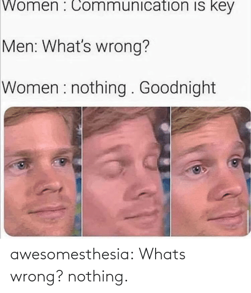 goodnight: Women : Communication is key  Men: What's wrong?  Women : nothing . Goodnight awesomesthesia:  Whats wrong? nothing.