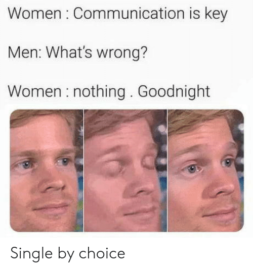 goodnight: Women Communication is key  Men: What's wrong?  Women nothing. Goodnight Single by choice
