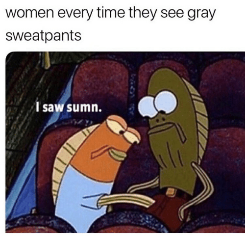 Gray Sweatpants: women every time they see gray  sweatpants  I saw sumn.
