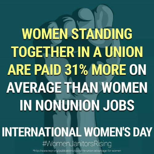 International Women's Day: WOMEN STANDING  TOGETHERIN A UNION  ARE PAID 31% MORE ON  AVERAGE THAN WOMEN  IN NONUNION JOBS  INTERNATIONAL WOMEN'S DAY  #AVVomenJanitorsRising  http://www.iwpr.org/publications/pubs/the-union-advantage-for-women