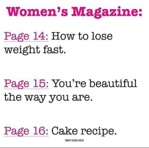 how to lose weight: Women's Magazine:  Page 14: How to lose  weight fast.  Page 15: You're beautiful  the way you are.  Page 16: Cake recipe.  SMART SCHOOL HOUSE