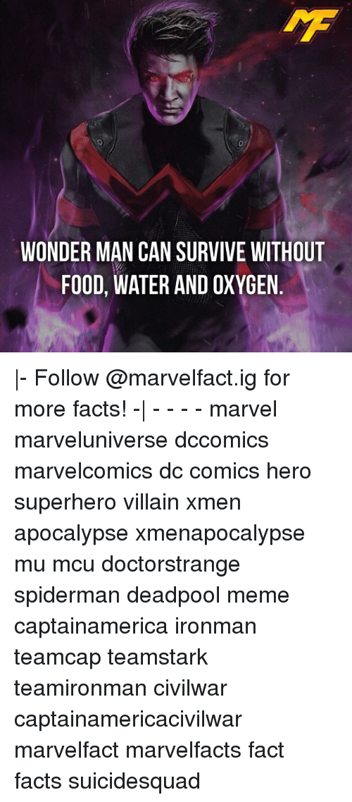 Memes, SpiderMan, and Superhero: WONDER MAN CAN SURVIVE WITHOUT  FOOD, WATER AND OXYGEN |- Follow @marvelfact.ig for more facts! -| - - - - marvel marveluniverse dccomics marvelcomics dc comics hero superhero villain xmen apocalypse xmenapocalypse mu mcu doctorstrange spiderman deadpool meme captainamerica ironman teamcap teamstark teamironman civilwar captainamericacivilwar marvelfact marvelfacts fact facts suicidesquad