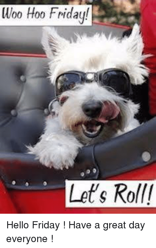 Hello Friday: Woo Hoo Friday!  Let's Roll/ Hello Friday !  Have a great day everyone !