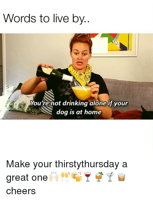 Drinking Alone: Words to live by..  Youfrenot drinking alone if your  dog is at home Make your thirstythursday a great one🙌🏻🥂🍻🍷🍹🍸🥃 cheers