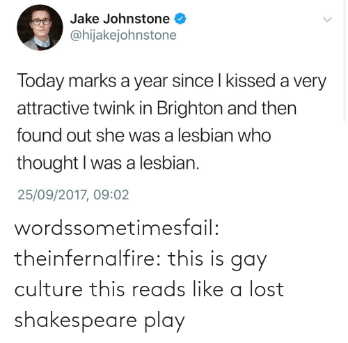 Shakespeare: wordssometimesfail: theinfernalfire: this is gay culture  this reads like a lost shakespeare play