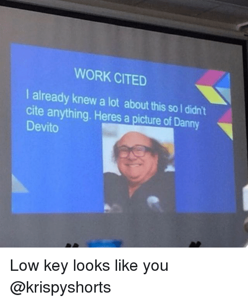 lowed: WORK CITED  I already knew a lot about this so I didn't  cite anything. Heres a picture of Danny  Devito Low key looks like you @krispyshorts