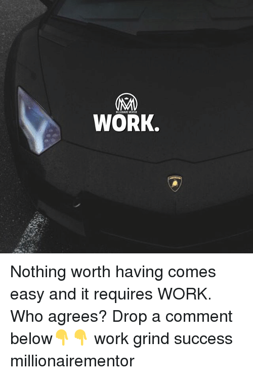 Memes, Work, and Success: WORK. Nothing worth having comes easy and it requires WORK. Who agrees? Drop a comment below👇👇 work grind success millionairementor