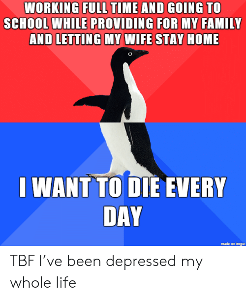 want-to-die: WORKING FULL TIME AND GOING TO  SCHOOL WHILE PROVIDING FOR MY FAMILY  AND LETTING MY WIFE STAY HOME  I WANT TO DIE EVERY  DAY  made on imgur TBF I've been depressed my whole life