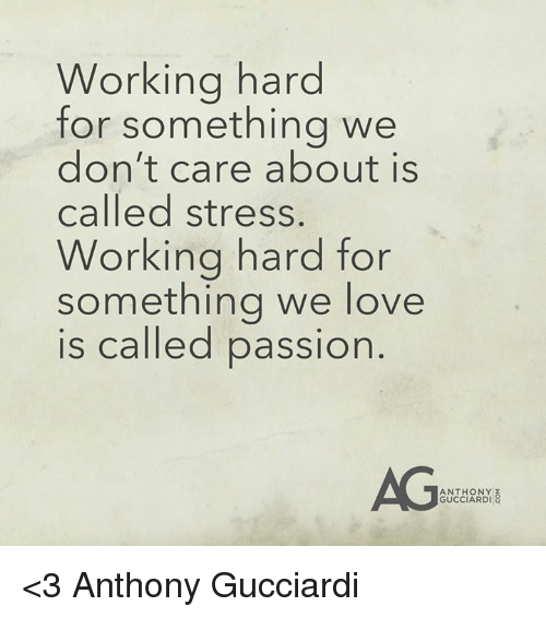 Love, Memes, and Work: Working hard  for something we  don't care about is  called stress.  Working hard for  something we love  is called passion  ANTHONY  GUCCIARDI <3 Anthony Gucciardi
