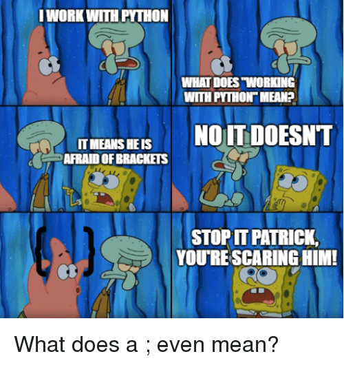 "brackets: WORKWITH PYTHON  WHAT DOES ""WORKING  WITH PYTHON MEAN?  IT MEANS HE IS  AFRAID OF BRACKETS  STOP PATRICK,  YOU'RE SCARING HIM What does a ; even mean?"