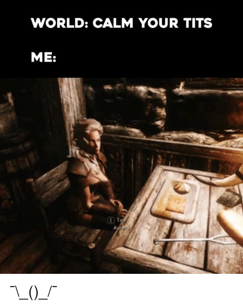 Video Games, Calm Your Tits, and Your-Tits: WORLD: CALM YOUR TITS  ME: ¯\_(ツ)_/¯