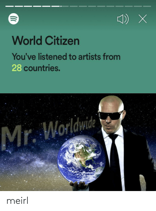 Artists: World Citizen  You've listened to artists from  28 countries.  Mr. Worldwide meirl