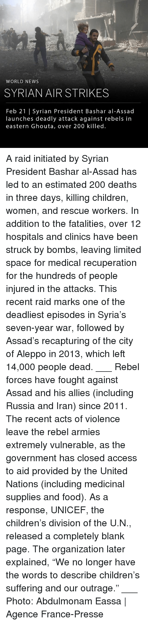 """assad: WORLD NEWS  SYRIAN AIR STRIKES  Feb 21 