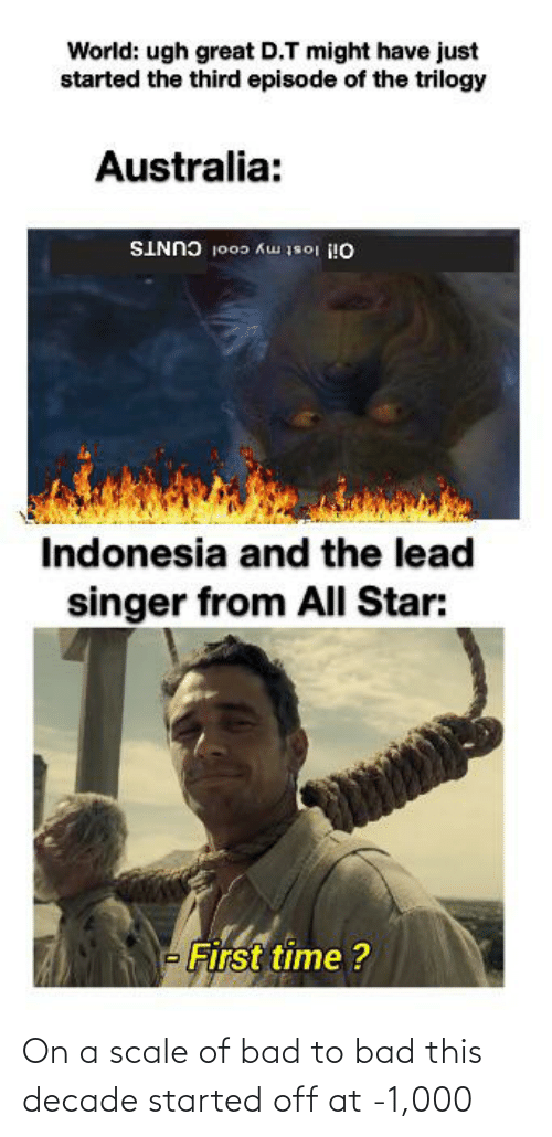 On A Scale Of: World: ugh great D.T might have just  started the third episode of the trilogy  Australia:  Oil lost my cool CUNTS  Indonesia and the lead  singer from All Star:  - First time ? On a scale of bad to bad this decade started off at -1,000