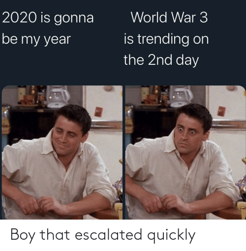 That Escalated: World War 3  2020 is gonna  is trending on  the 2nd day  be my year Boy that escalated quickly