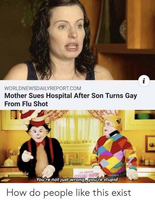 how-do-people: WORLDNEWSDAILYREPORT.COM  Mother Sues Hospital After Son Turns Gay  From Flu Shot  THE AMANG  KUPKAKE-INATOR  You're not just wrong, youre stupid How do people like this exist